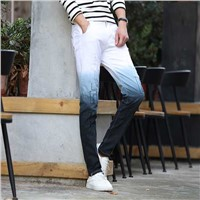 China Fashion Spandex Men Denim Pants Ripped Hollow Hole Hip Hop Street Wear Gradient Tie Dye Skinny Used Jeans