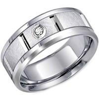 Titanium Wedding Band Ring with Cubic Zirconia