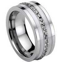 Tungsten Carbide Eternity Ring with Ceramic & Cubic Zirconia