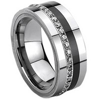 Tungsten Carbide Eternity Ring with Cubic Zirconia & Ceramic