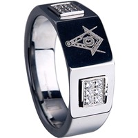 Tungsten Carbide Masonic Ring with Cubic Zirconia