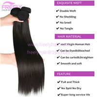 Freely Hair Brazilian Straight 10A Grade 100% Unprocessed Virgin Human Hair Bundles Weave Natural Color