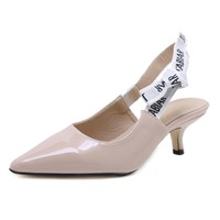 Middle Heel Thin & Pointed Sandals Bow Tie Casual Shoes High-Heeled Outdoor Comfortable Women's Shoes Nude Apricot Bla