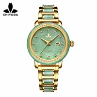 CHIYODA Women's Automatic Mechanical Watch, Jade Watch, Luxury Sapphire Mirror