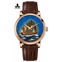 CHIYODA Men's Luxury Gold Watch Enamel Painting Automatic Watch with Swiss Movement Leather Strap - Enamel 04
