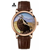 CHIYODA Men's Luxury Gold Watch Enamel Painting Automatic Watch with Swiss Movement Leather Strap - Enamel 11