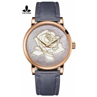 CHIYODA Men's Stylish Embroidery Watch with Gold Case - Embroidery 04
