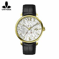 CHIYODA Women's Luxury Gold Automatic Watch with Classical Meteorite Dial Swiss Movement Leather Strap - Meteorite 02