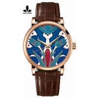 CHIYODA Women's Luxury Gold Watch Enamel Painting Automatic Watch with Swiss Movement Leather Strap - Enamel 06