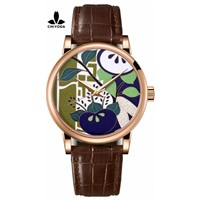 CHIYODA Men's Luxury Gold Watch Enamel Painting Automatic Watch with Swiss Movement Leather Strap - Enamel 07