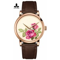 CHIYODA Men's Stylish Embroidery Watch with Gold Case - Embroidery 03
