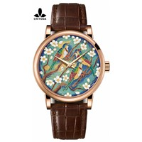 CHIYODA Men's Luxury Gold Watch Enamel Painting Automatic Watch with Swiss Movement Leather Strap - Enamel 05