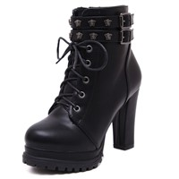 Women's Shoes Lace up Platform Buckled Rough Heel Ankle Boots