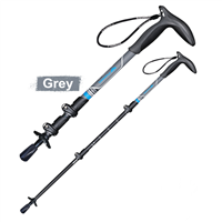 PIONEER Carbon Fiber Adjustable Walking Stick 3 Section EVA T-Handle Retractable Hiking Pole Old Man Walking Stick-Grey