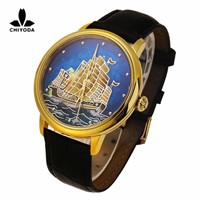 CHIYODA Men's Luxury Gold Watch Enamel Painting Automatic Watch with Swiss Movement Leather Strap - Enamel 13