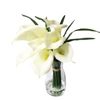 Wholesale Home Decor White Artificial Flower Real Touch PU Calla Lily Arrangement