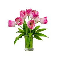 Crystgal Clear Water 8 Pcs Latex Flower Real Touch Tulip Arrangements