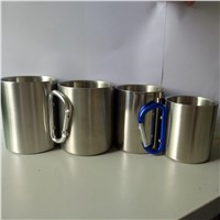 225ml 300ml 320ml 450ml Stainless Steel Double Wall Coffee Cup Stainless Steel Carabiner Cup