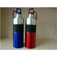 Stainless Steel Water Bottle with Rubber Ring Metal Bottle with Carabiner