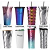 Best Selling Stainless Steel Tumbler with Straw/16oz Hot & Cold Double Wall Irregular Diamond Drinking Cups Coffee Mug