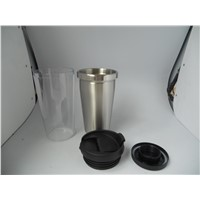 Wholesale Double Wall Inner Stainless Outer Plastic High Quality Travel Coffee Mug Stainless Steel Advertising Cup