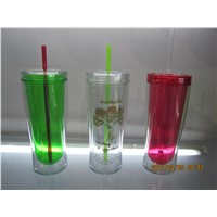 12oz BPA Free Plastic Double Wall Cooling Ice Mugs Chilling Freezer Tumblers with Lid & Straw