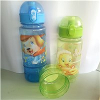 Promotional Colorful Label Logo Travel Children Plastic Kids Flip Drinking Water Bottle with Snack Candy Box