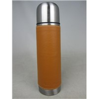 Luxury Stainless Steel Insulated Vacuum Flask with Genuine Leather Wrap