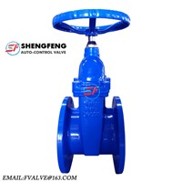 Chinese Made DN150 F4 DIN Non-Rising Stem Water Resilient Seat Soft Sealing Blue Paint Gate Valve