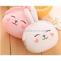 New Fashion Cut Cartoon Printed Food Grade Women Silicone Coin Bags Purses Pouches