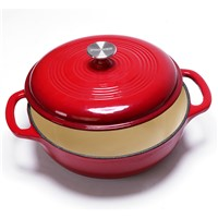 3QT Cast Iron Red Enamel Casserole