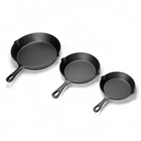 "6"" 8"" 10"" Set of 3 Non-Stick Pre-Seasoned Cast Iron Round Egg Frying Skillet Pan"