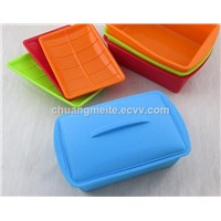 Rectangular High Temperature Resistant Sealed Microwave Travel Portable Tableware Silicone Lunch Box
