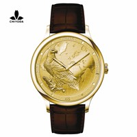 CHIYODA Luxury Golden Plated Wrist Watch with Carving Process of Map & Eagle Pattern, Quartz Movement (Unisex)