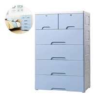 Nafenai 4-Drawer with 2 Cabinet Plastic Storage Bin Baby Closet Toy Box Clothes Storage Cabinet