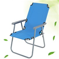 Folding Fabric Steel Tube Camping Armrest Beach Chair