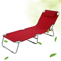 Garden Outdoor Patio Balcony Folding Camping Sun Lounger Recliner Chair Bed with Steel Pipes & Adjustable