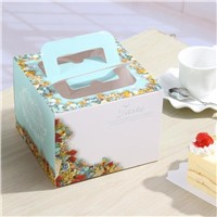 Blue Flower Paper Packaging Cake Box, Luxury Pink Flower Birthday Cake Gift Box with Handle
