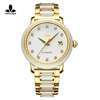 CHIYODA Women's Automatic Mechanical Watch, Jade Watch, Luxury Sapphire Mirror --- White Jade