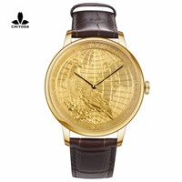 CHIYODA Luxury Golden Plated Wrist Watch with Carving Process of Map & Eagle Pattern, Quartz Movement
