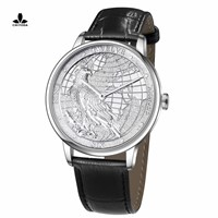 CHIYODA Luxury Platinum Watch with Carving of Map & Eagle Pattern, Swiss Quartz Movement, Real Cowhide Strap-Unisex