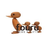 Nordic Wood Home Furnishing Ornaments Teak Wood Crafts Classic Creative Kids Toy S/M Duck for Home