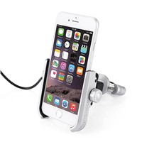 Metal Bike & Motorcycle Phone Mount Handlebar Holder with USB Port 360 Rotating Smartphone Holder for iPhone 5-XS