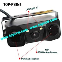 3 in 1 Car Reverse Camera Parking Sensor Systems with 2 LED Light from Topccd (TOP-P3IN1)