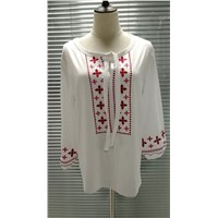 Tfzy-254# 3/4 Sleeve Embroidered Tunic