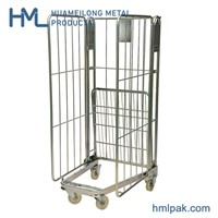 A Frame Material Transport Portable Steel Storage Folding Wire Mesh Sided Roll Industrial Container Cages Trolleys