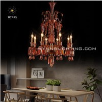 Amber Color 8 Arm Baccarat Crystal Chandelier Lighting