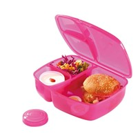 Plastic 3-Compartment Food Container Lunch Box Bento