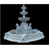 White Marble Horse Sculpture Garden Fountain Outdoor Water Feature Decoration