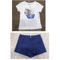 Girl's Print Short Sleeve t-Shirt & Casual Pant Sets